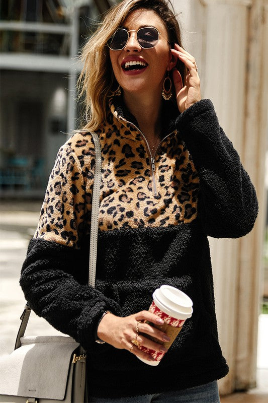 Black and Tan Animal Print Fuzzy Pullover