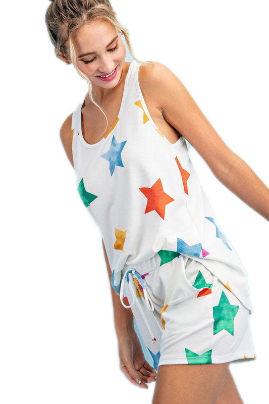 MULTI COLOR STAR PRINT SHORTS