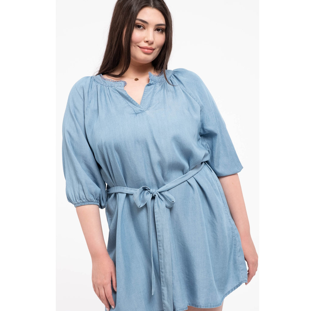 Curvy Chambray Mini Dress