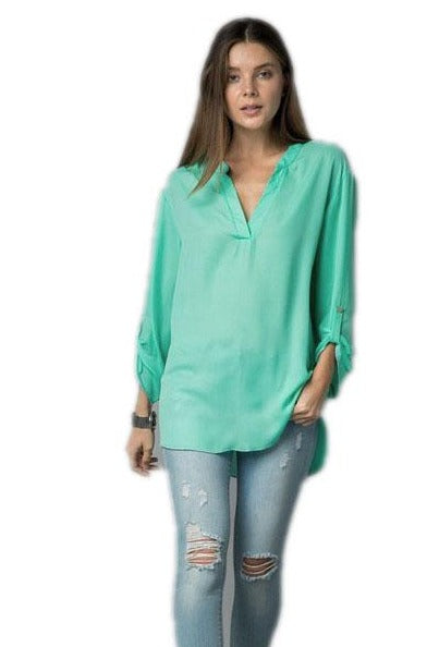 Mint NEON CARA TOP WITH BUTTON ON SLEEVE DETAIL