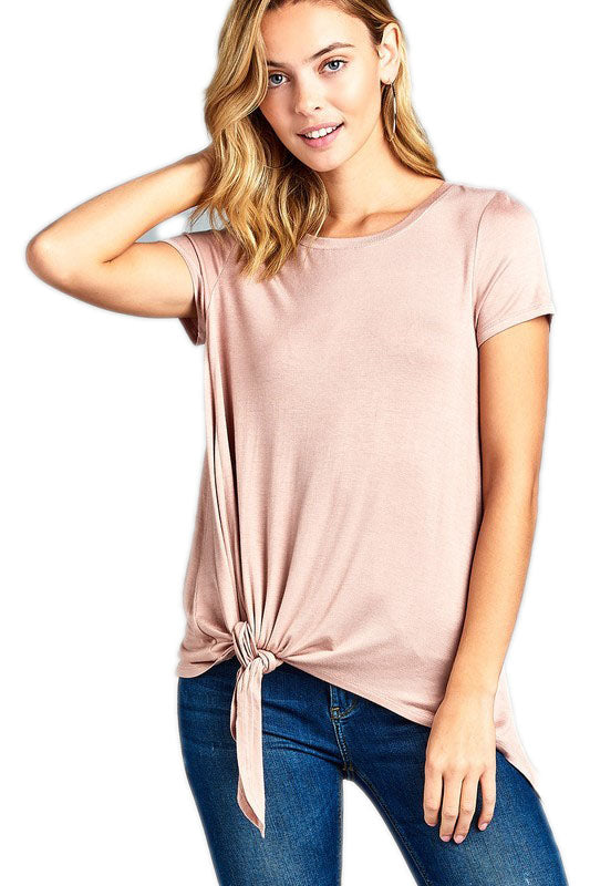 Dusty Peach SHORT SLEEVE ROUND NECK w/SIDE KNOT RAYON SPANDEX TOP