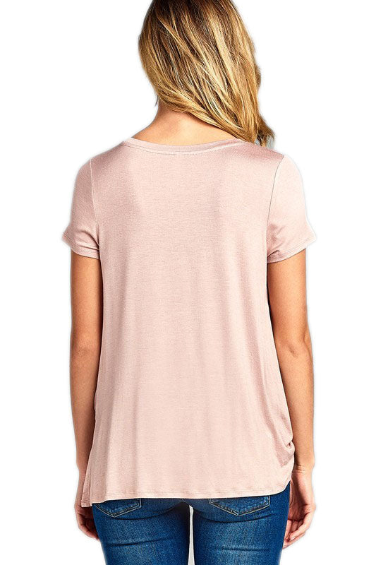 Essentials Peach Knotted Tee