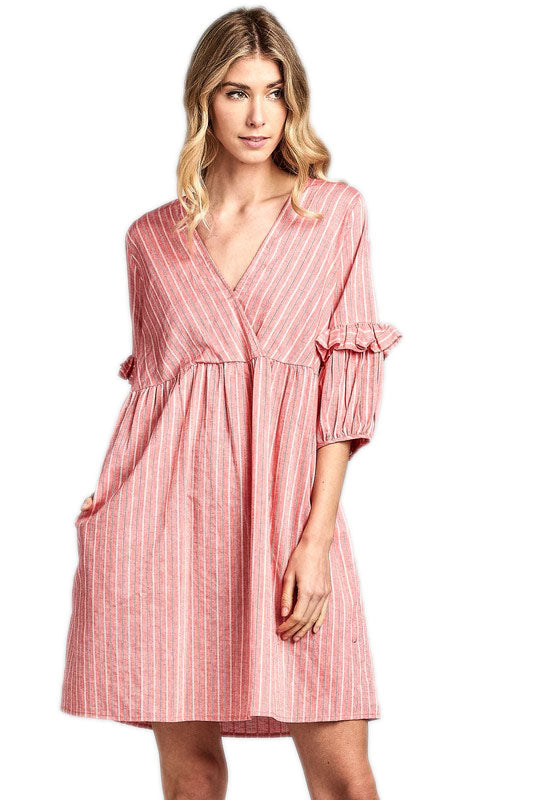 Coral Women's Striped Babydoll V-Neck Ruffle Sleeve Dress