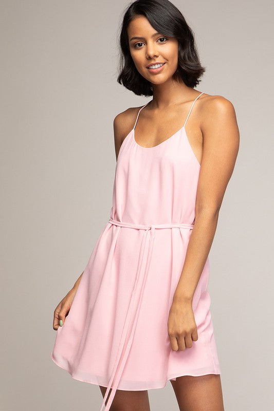 Petal Pink STRING STRAP DRESS WITH WRAP TIE