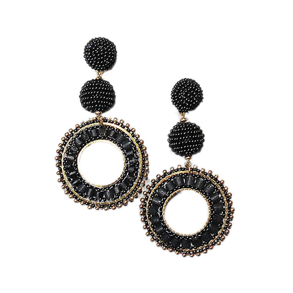 Black Statement Earrings with Two Black Fully Beaded Balls and One Large Black and Gold Beaded Circle