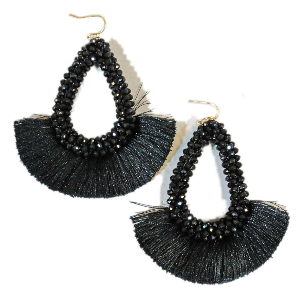 Black Statement Earrings Beaded with Black Fringe