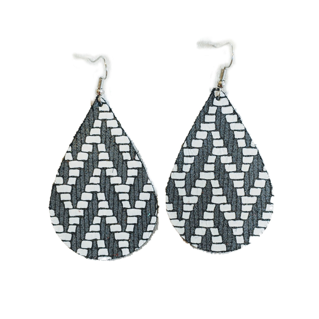 Herringbone Leather Teardrop Earrings