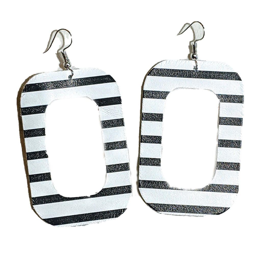 Black and White Stripe Leather Rectangle Earrings