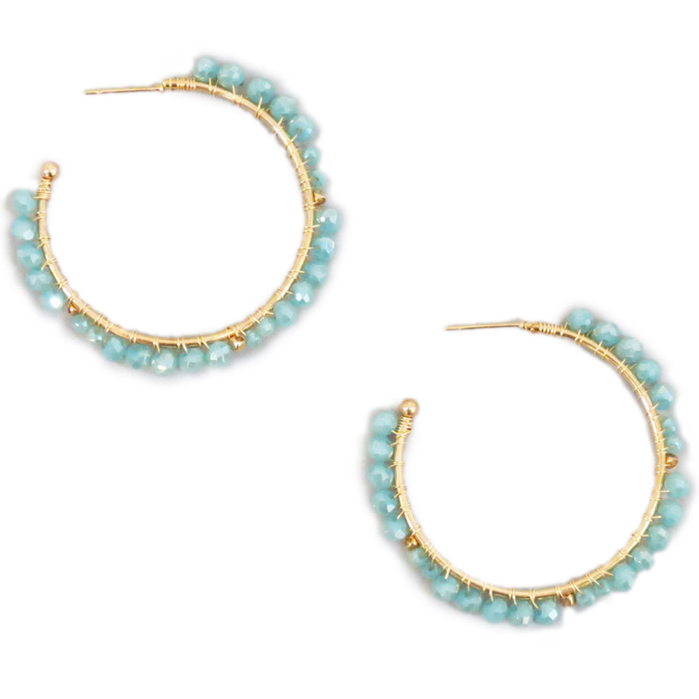 Gold and Mint Hoops