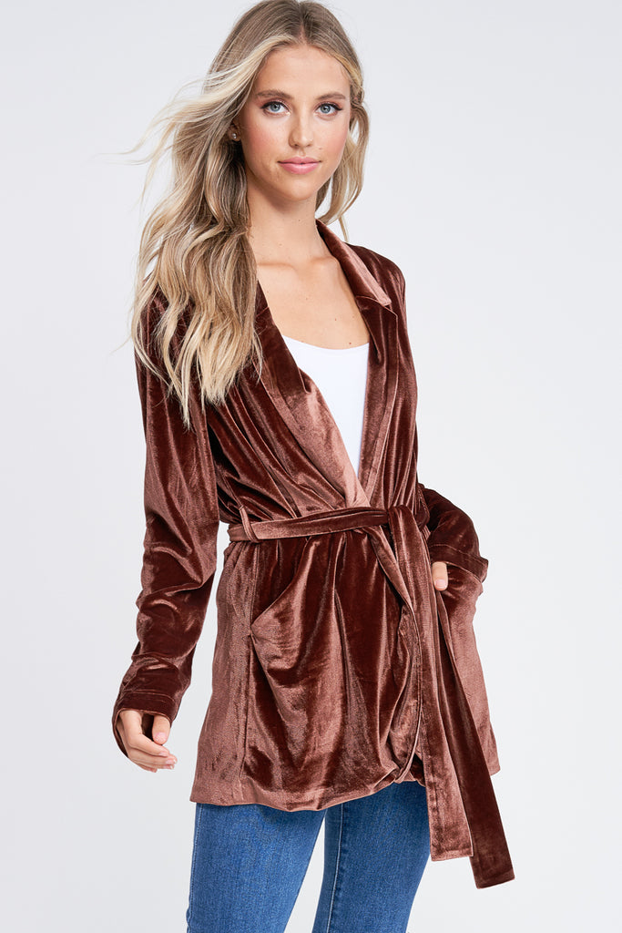 Rich Brown Velvet Blazer