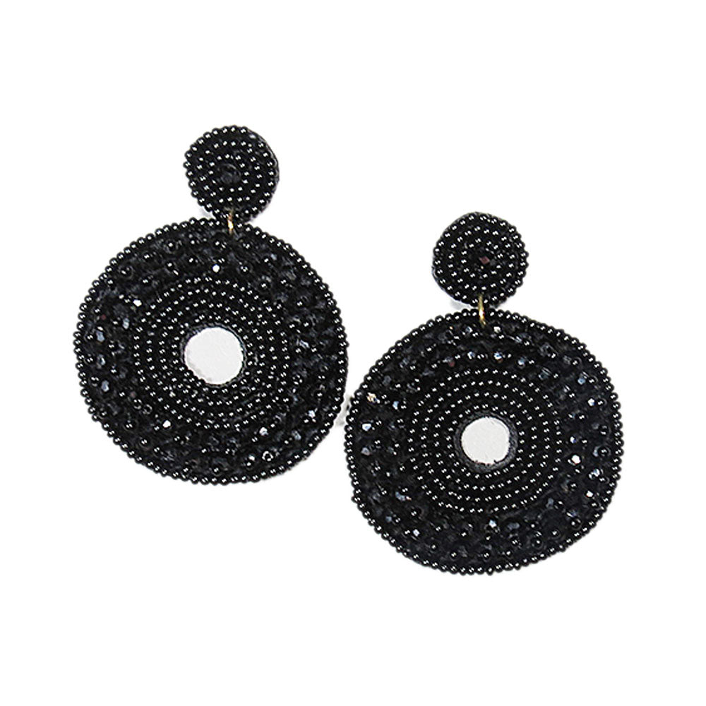 Black Statement Earrings with Black Crystal Beads for Large Donut Circle