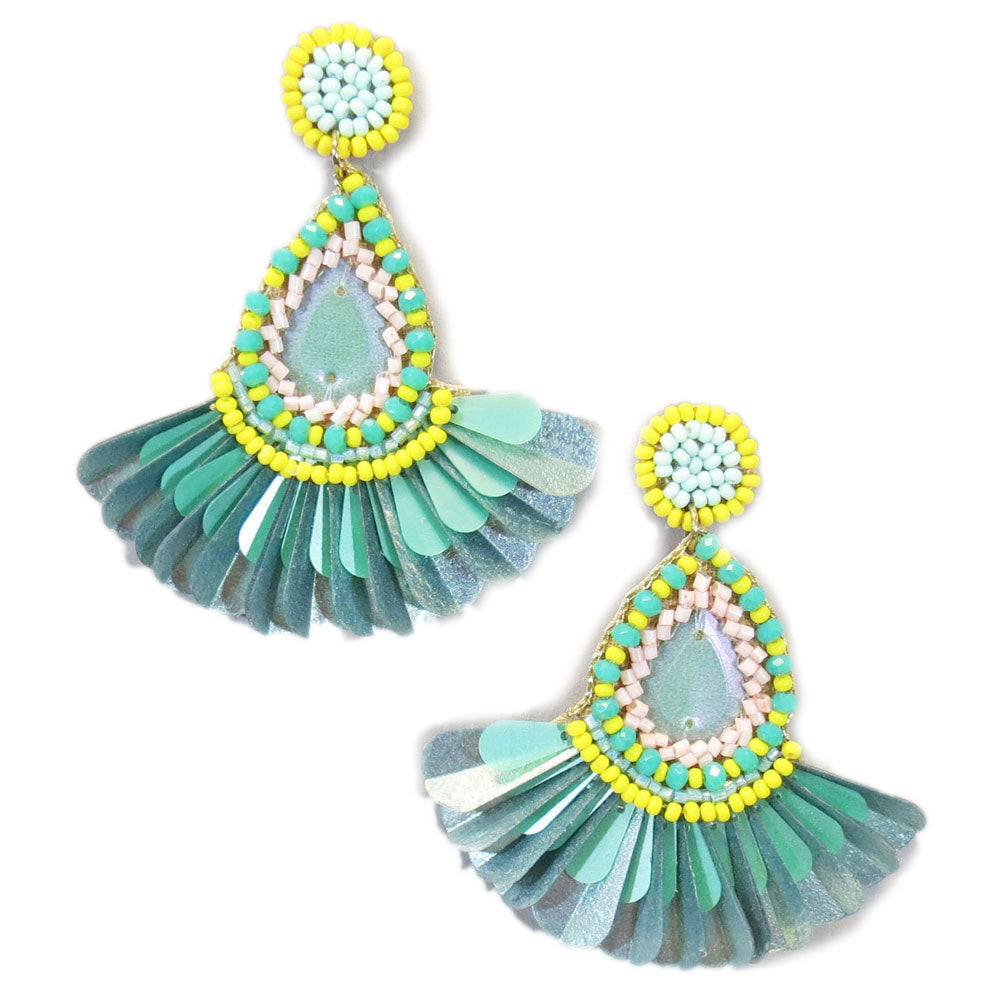 Turquoise and Yellow Beaded Fan Statement Earrings
