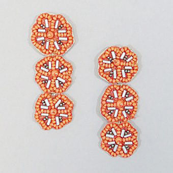 Coral Triple Flowers Earrings