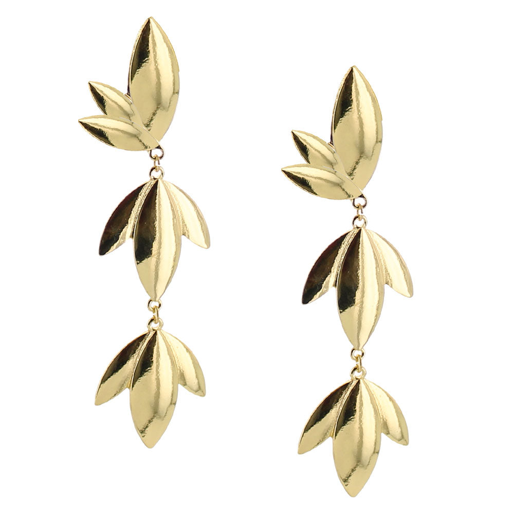 Secret garden statement earrings gold metal
