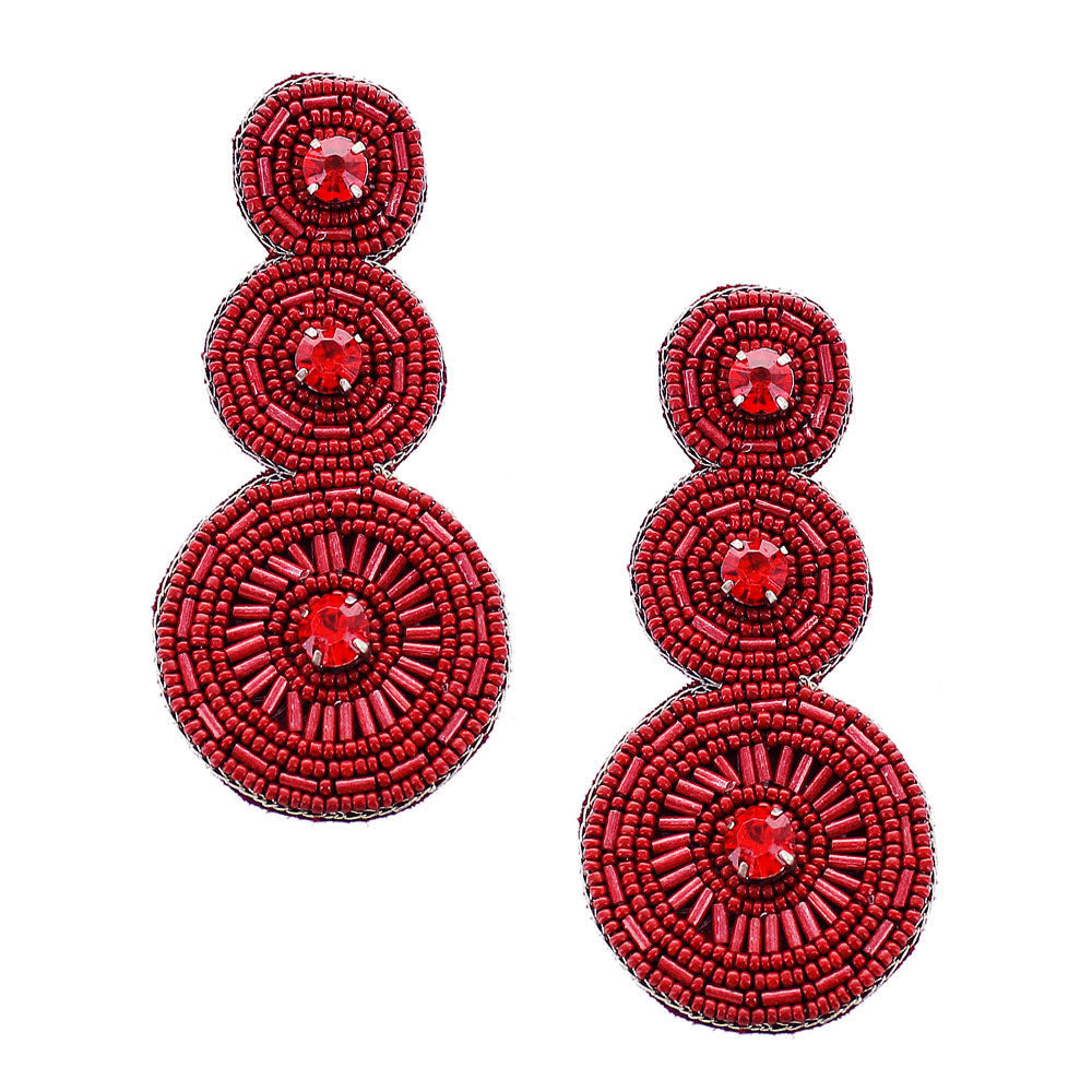 Triple Round Crimson Earrings