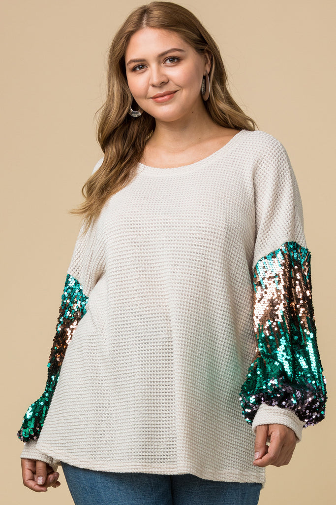 Sparkling Waffle-Knit Top