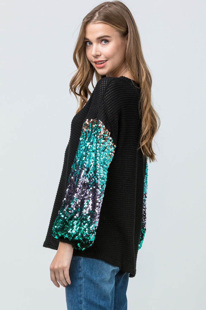 Black Sparkling Waffle-Knit Top