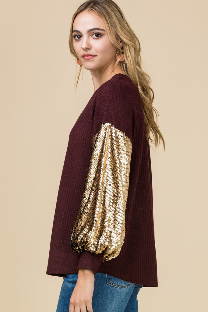 Burgundy and Gold Sparkling Waffle-Knit Top