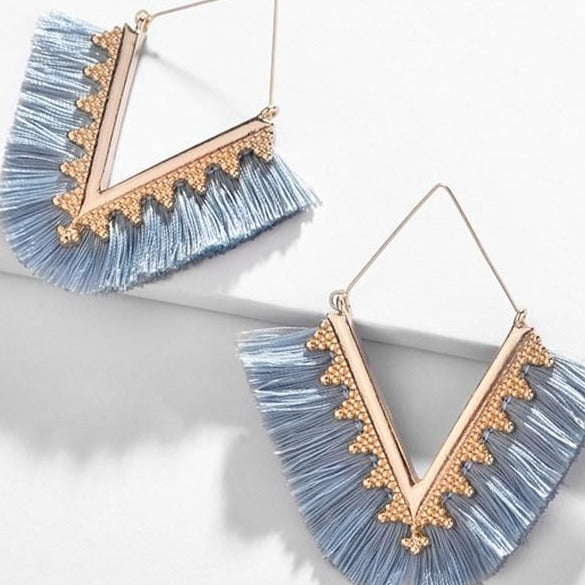 Dusty Blue Lola Fringe Earrings