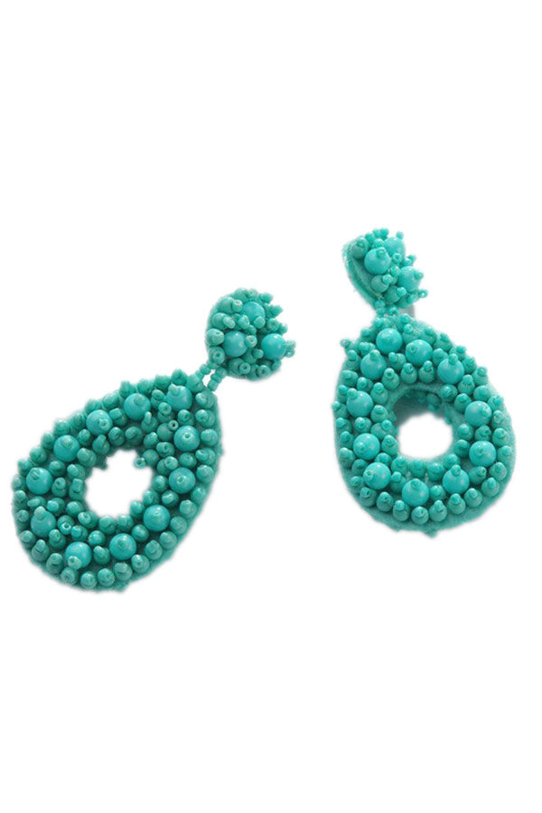 Turquoise Beaded Thick Earrings