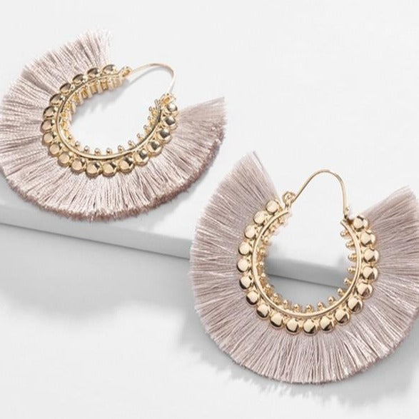 Beige and Gold Fringe Earrings