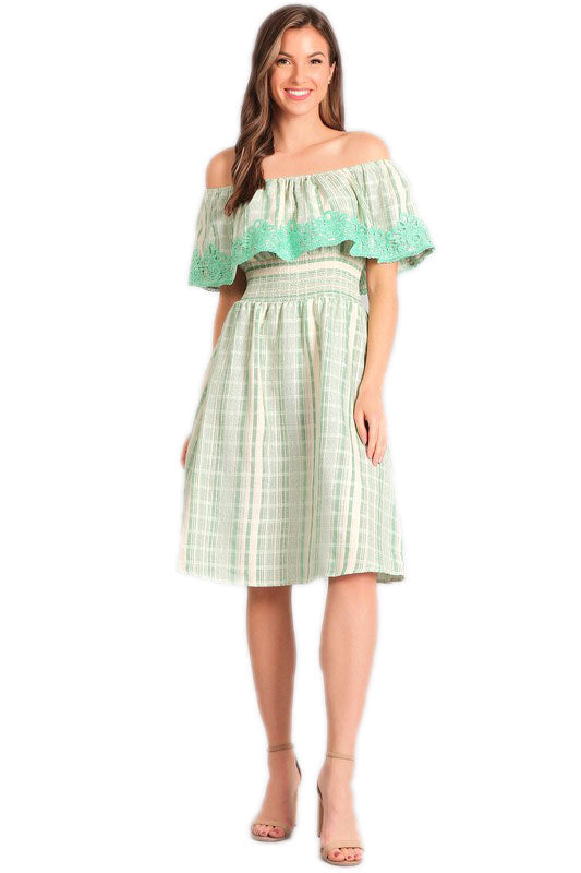 Mint Green Off The Shoulder Midi Dress