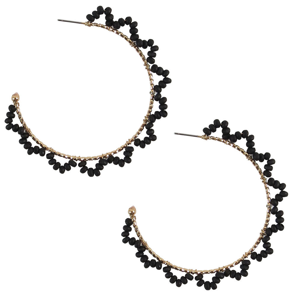 Black and Gold Large Hoop Earrings