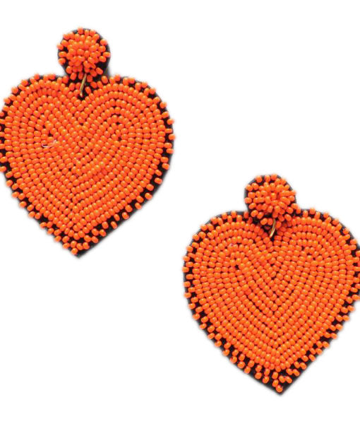 Smokey Orange Heart Earrings