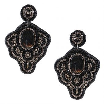 Black Statement Earring with Black Beads and Hematite