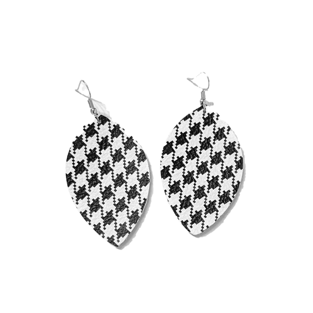 Black and White Houndstooth Leather Earrings