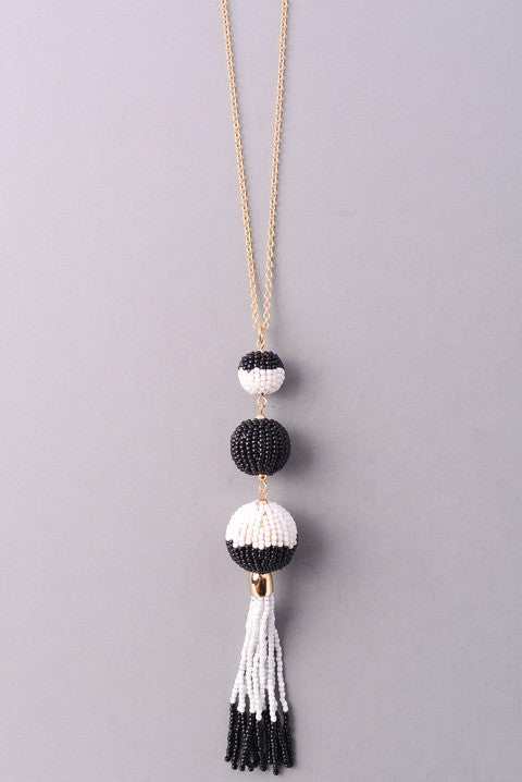Beaded Bon Bon Tassel Necklace