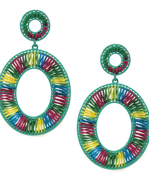 Oval Thread-Wrap Earrings