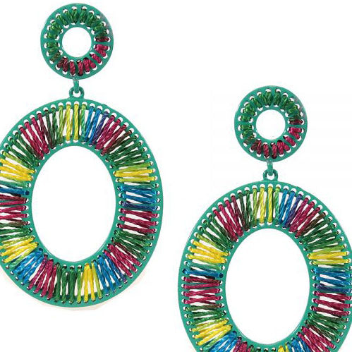 Oval Pink, Green, Blue and Yellow Thread-Wrap Earrings