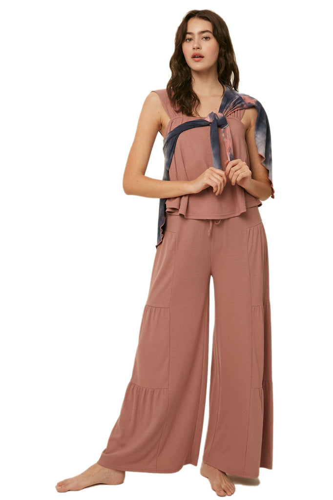 RIBBED SQUARE NECK SLEEVELESS TOP AND PALAZZO PANTS KNIT SET