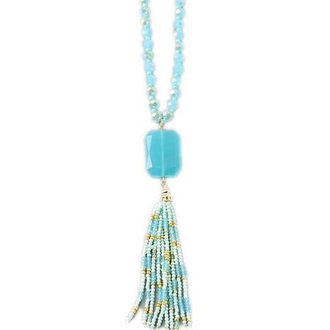 Turquoise Crystal Tassel Necklace
