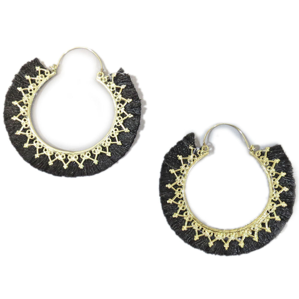 Black Statement Earrings Oversized Gold Circles with Black Fringe