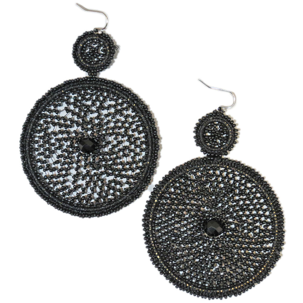 Black statement Earrings Round Beaded Disc