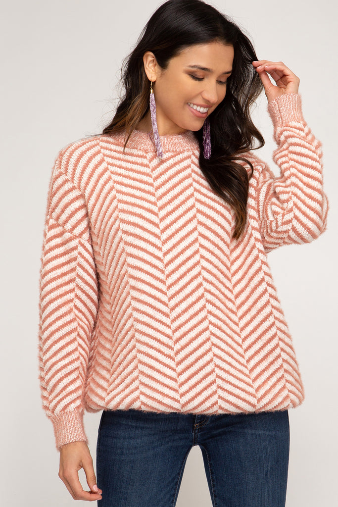 Tangerine Cozy Chevron Sweater