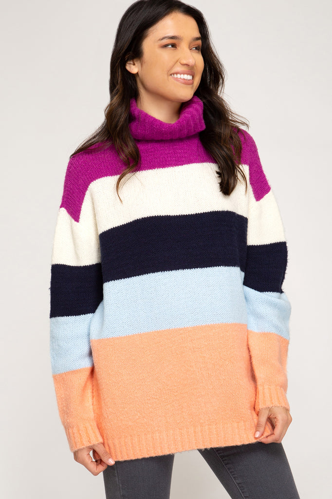 Let's Stay In Colorblock Turtleneck Sweater