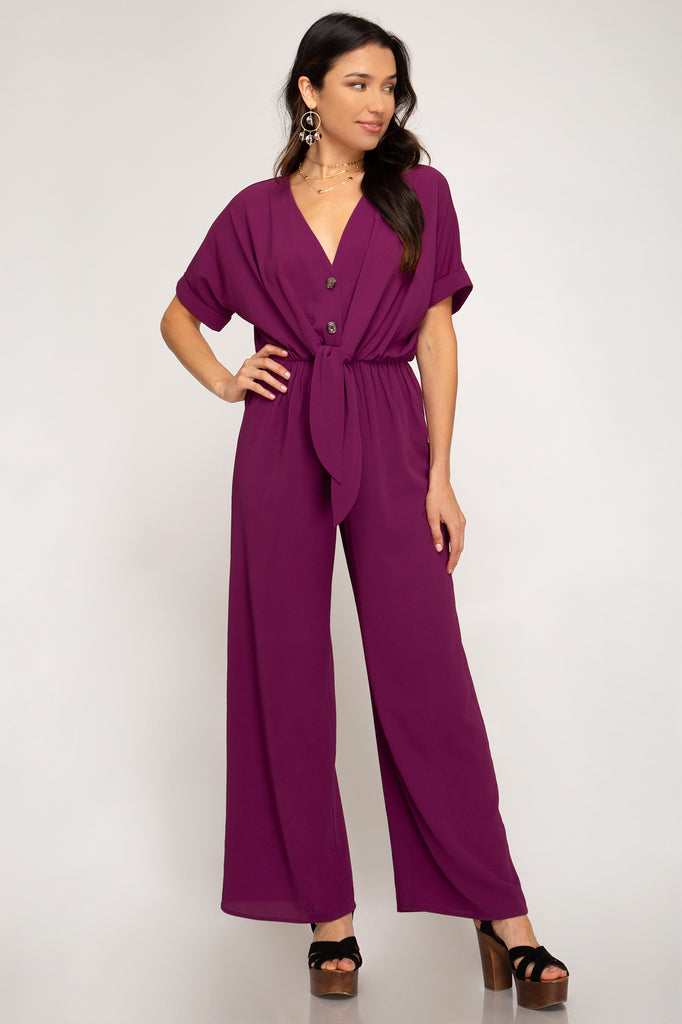 Berry Jewel Tone Jumpsuit