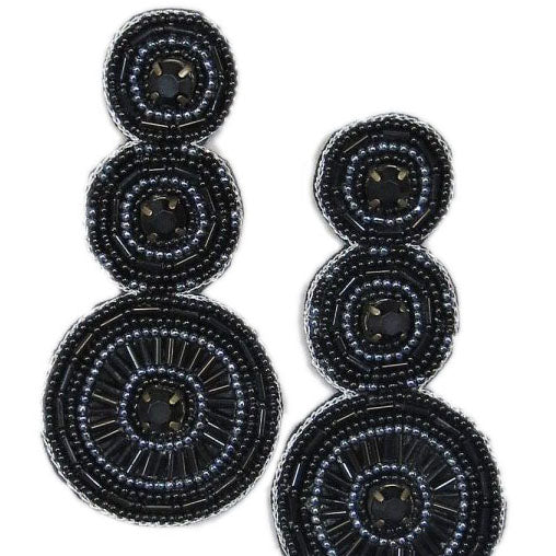 Black Statement Earrings with Triple Circles and Black Seed Beads