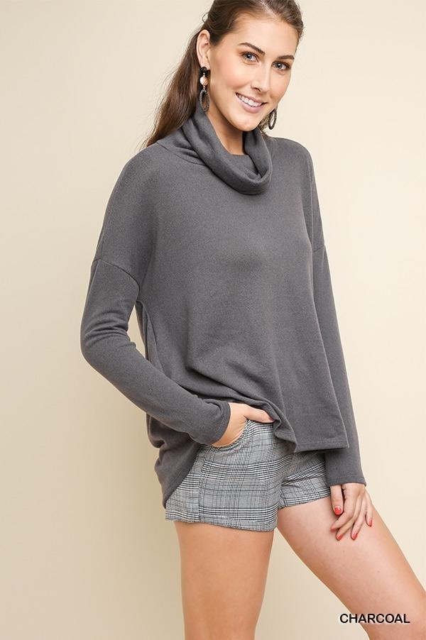 Long Sleeve Turtleneck Knit Top with Draped Back Detail and High Low Hem