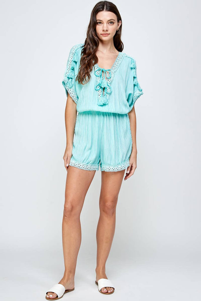 Boho Romper Cute Romper in Turquoise with Lace and Embroidery