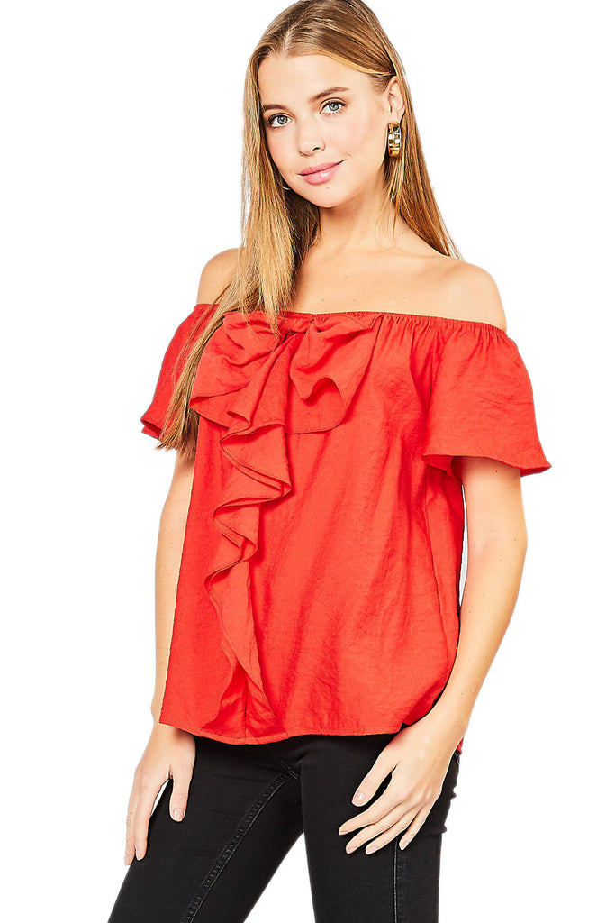 Tomato Off the Shoulder Top