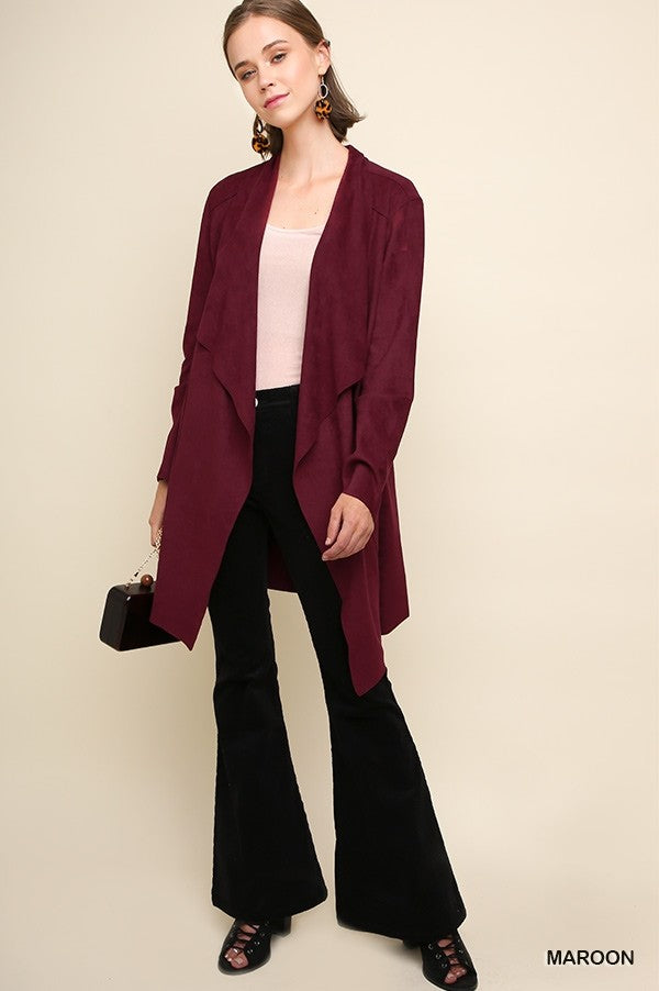Layered Up Maroon Suede Jacket