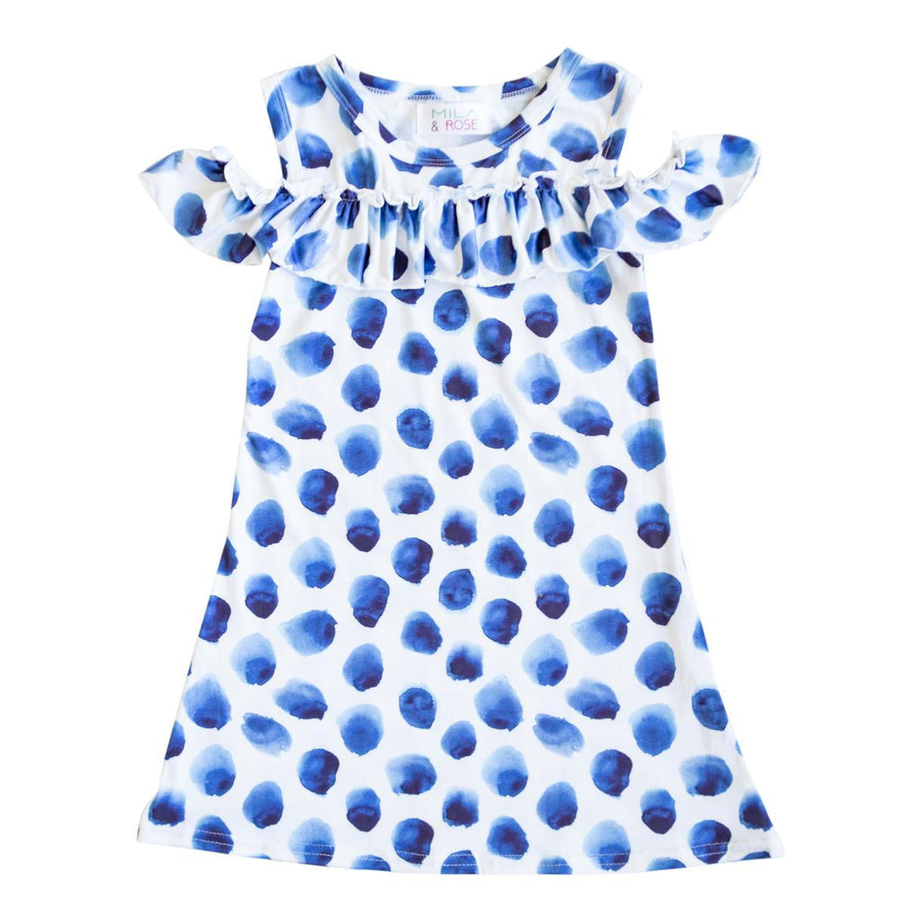 Indigo Dot Cold Shoulder Ruffle Dress