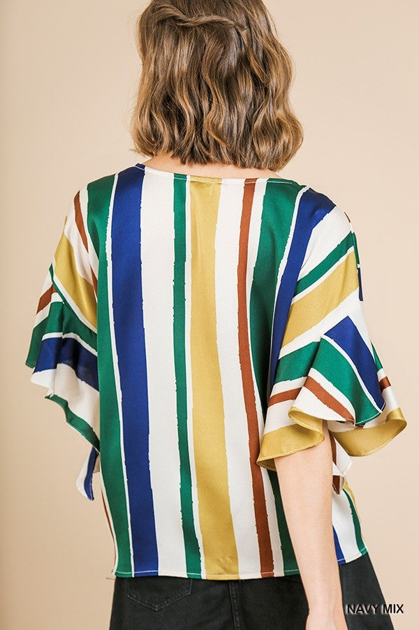 Plus Mediterranean Stripe Satin Top