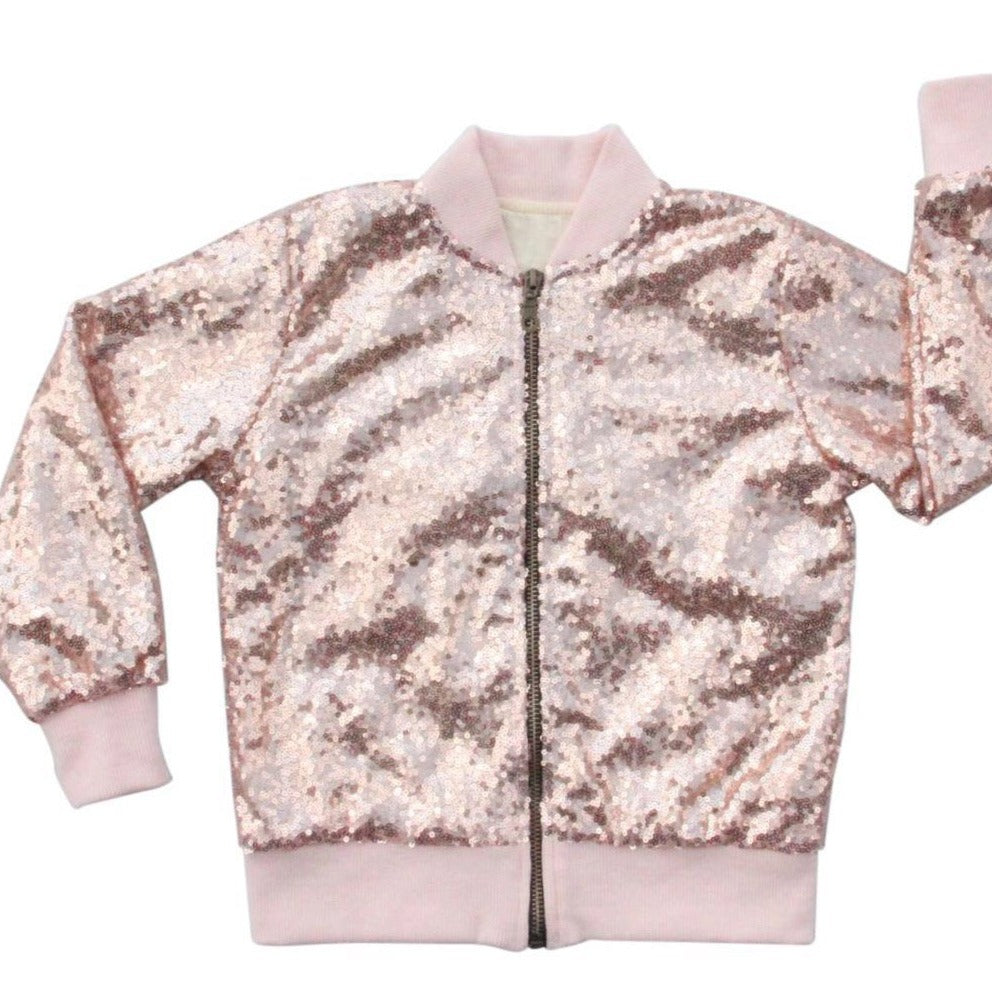 Little Girls and Toddlers Sequin Jacket in Rose Gold