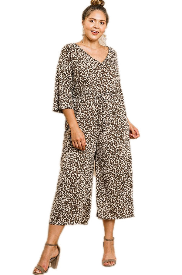 Animal Print V-Neck Wide Leg Jumpsuit with Pockets and Elastic Waist with Tie