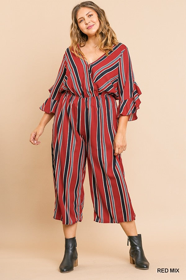 3/4 Bell Ruffle Sleeve V-Neck Crossbody Wide Leg Pant Jumpsuit
